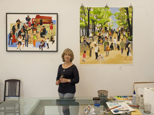 Ruth Ellen Hoag favors large watercolor crowd scenes. Her studio, nicknamed Whistle Stop, is at the back of the Slingshot Gallery on Canon Perdido Street.