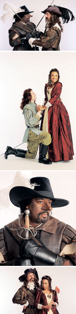 Derrick Lee Weeden, left, plays the famous lover and fighter Cyrano de Bergerac and Gregory Linington plays Comte de Guiche in the classic French comedy, Cyrano de Bergerac Tobias Shaw as Christian and Ms. Ricketts as Lady Roxane Mr. Linington, left, plays Comte de Guiche and Cara Ricketts plays Lady Roxane Luis Escobar photos