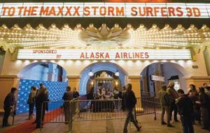"The red carpet leads into the Arlington Theatre for Sunday's showing of ""Storm Surfers 3-D."" NIK BLASKOVICH/NEWS-PRESS PHOTOS"