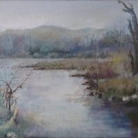 oil painting of a country river in late autumn with mountains in distance