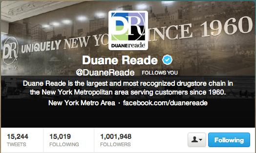 DuaneReade 1MM Twitter followers 8.25.13