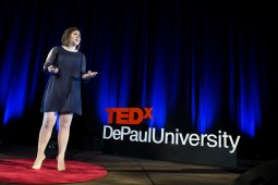 """Nelly Mueller presents her talk """"Careening out of Complacency"""" at TEDxDePaulUniversity Tuesday, April 18, 2017, in the Lincoln Park Student Center. TEDxDePaulUniversity is an independently run, self-organized event. Through the theme """"Courage to Connect"""" 10 speakers from across the DePaul community challenged thoughts and inspired ideas through a series of engaging talks and presentations. (DePaul University/Jeff Carrion)"""