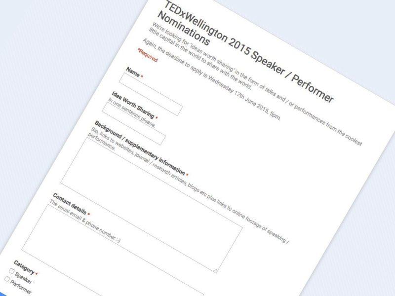 TEDxWellington 2015 Speaker -Performer Nominations