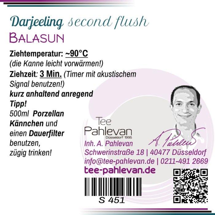 Schwarzer Tee Darjeeling Balasun second flush   Premium Tee lieblich Muskatel Rarität von Tee Pahlevan