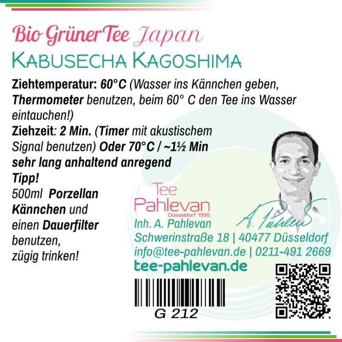 Bio Grüner Tee Kabusecha Kagoshima | 60°C, Ziehzeit 2-3 Minuten lang anhaltend anregend von Tee Pahlevan