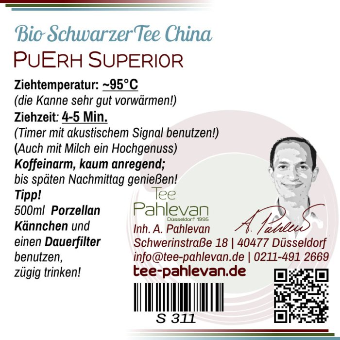 Tee China Yunnan Pu Erh Superior | fein kräftig würzig erdig rund von Tee Pahlevan