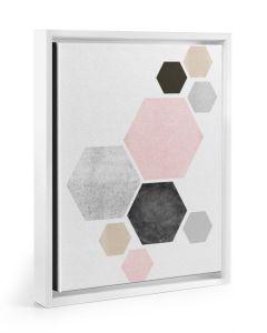 Minimal Hexagon Art White Framed Canvas