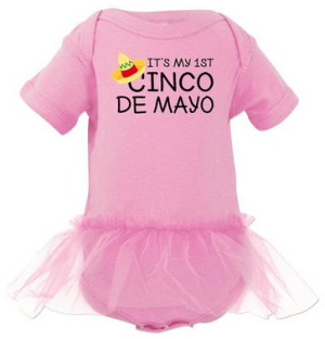 Inktastic Baby Girls' It's My 1st Cinco De Mayo Infant Tutu Bodysuit in Pink