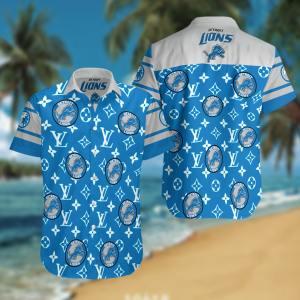 Detroit Lions Summer Short Sleeve Hawaiian Beach Shirt