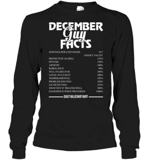 December Guy Facts 24/7 %Daily Value Servings Per Container Protective As Hell 155% Psychic 120% Long Sleeve