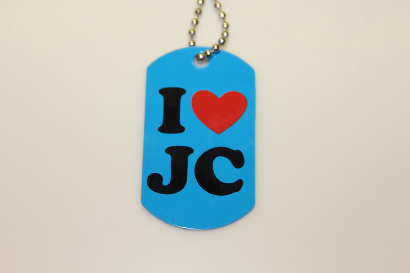 I Heart JC Dog Tag Necklace with Cross Back