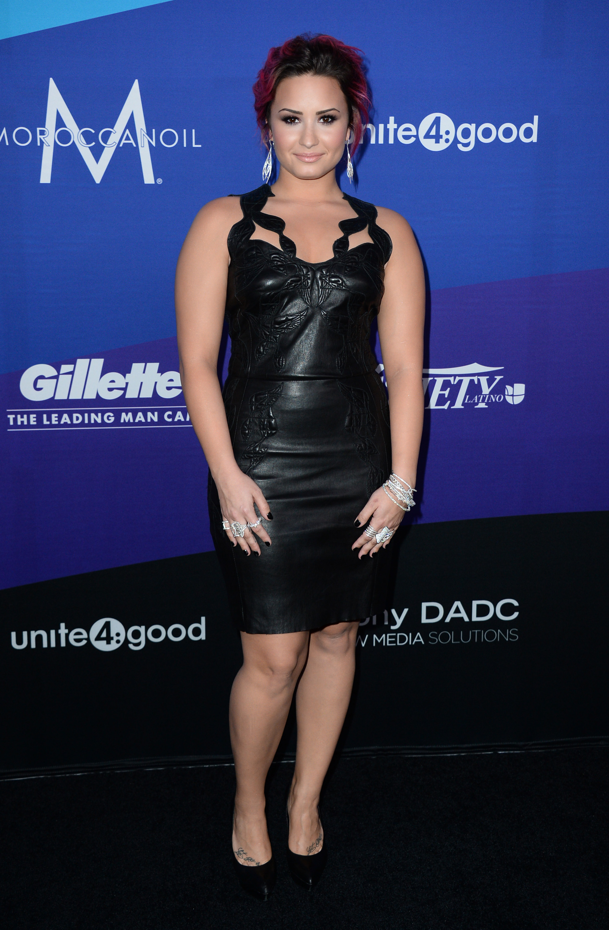 Honoree Demi Lovato Rocks Body Hugging Leather Dress At