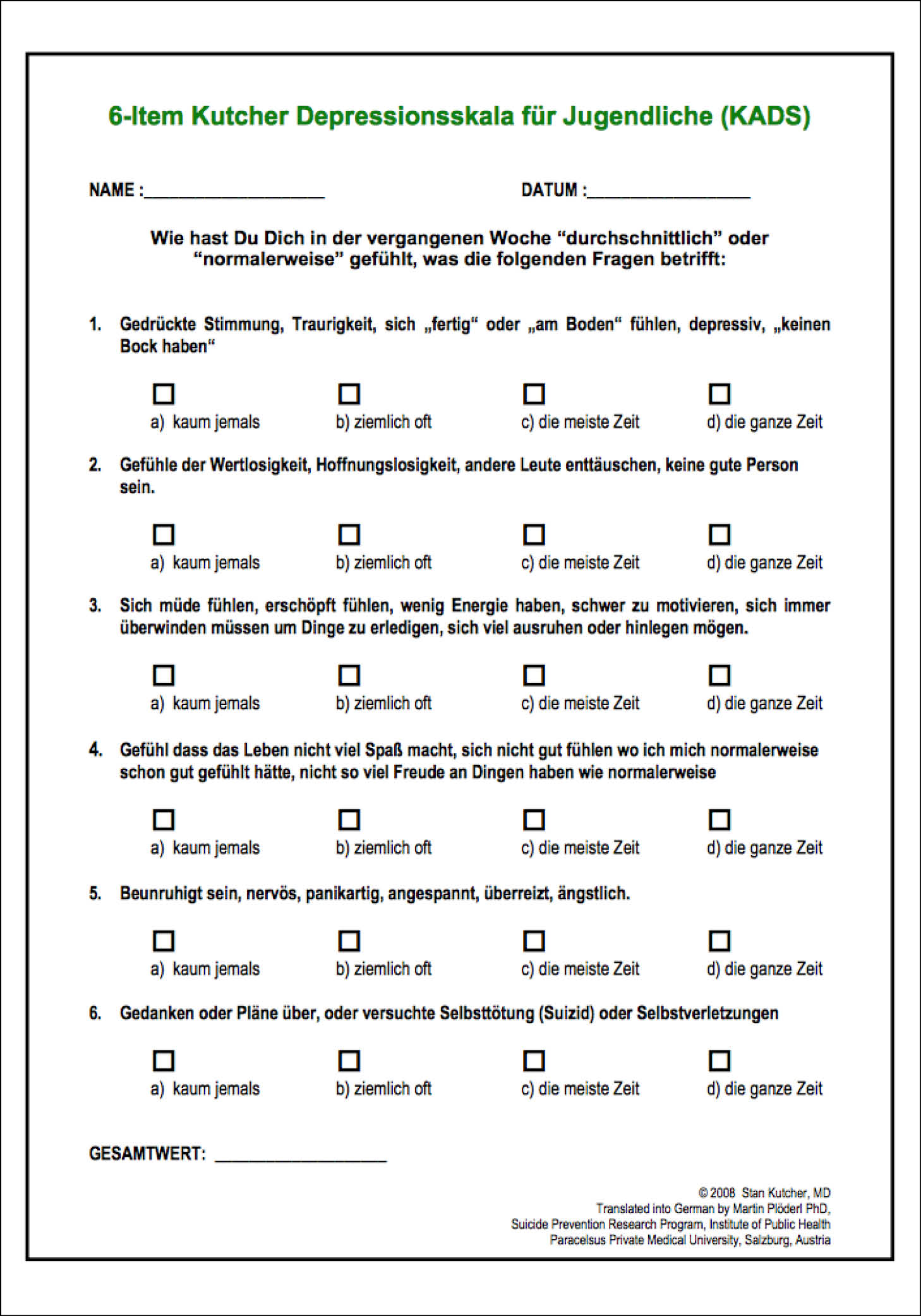Childhood Anxiety Worksheet