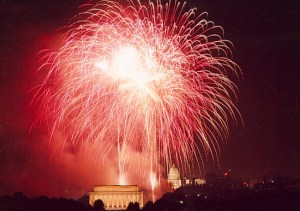 Fireworks explode over the National Mall in Washington D.C. Photo courtesy of the National Park Service.