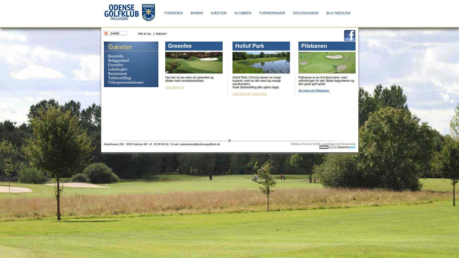 Skjermdump fra hjemmesiden til Odense Golfklub