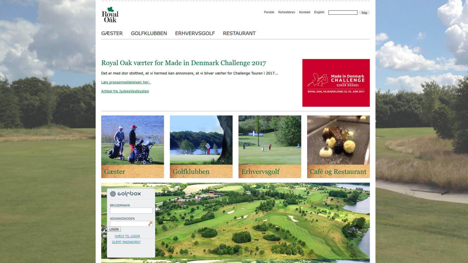 Skjermdump fra hjemmesiden til Royal Oak Golf Club