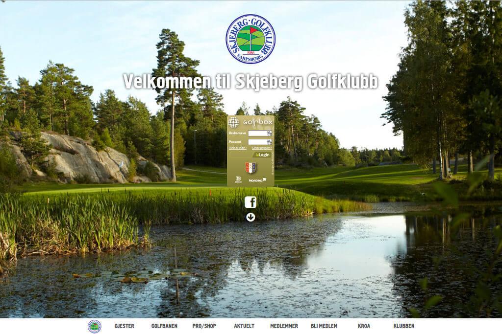 Skjermbilde av hjemmesiden til Skjeberg Golfklubb