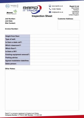 rapid it inspection sheet