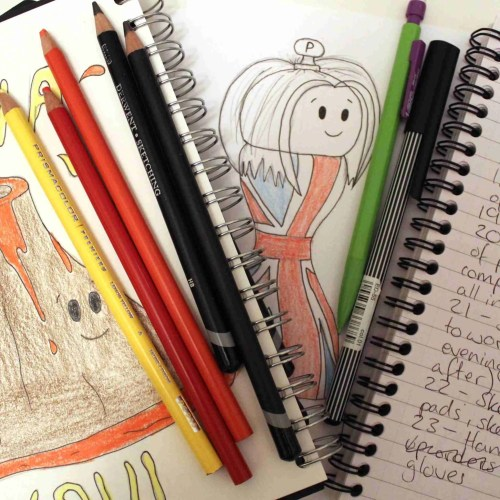 sketch books and lists