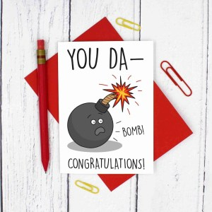 Funny Congrats Card, Graduation Card, Well Done Card, Driving Test Card, Pass Exams Card, Congratulations Card, Bomb Pun Card, TeePee Creations, Confetti Card, Wedding Card, New Job Card, New Home Card, You Da-Bomb Pun