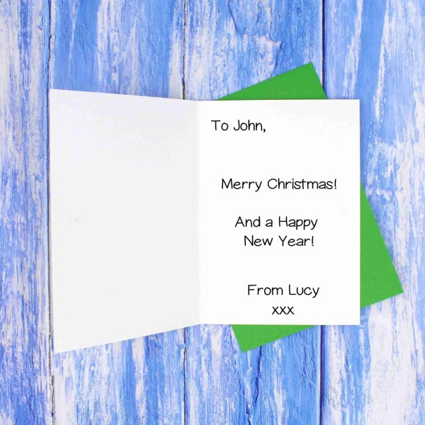 Christmas green envelope message example