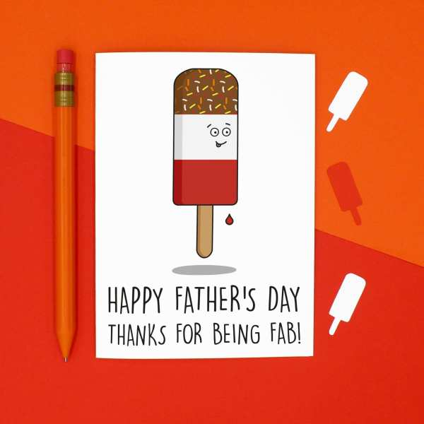 Funny Pun Card, Fab Lolly Card, TeePee Creations, Confetti Card, Fathers Day Card, Card for Dad, Card for Stepdad, Funny Dad Card, Fab Pun Card, Lolly Pun Card, Summer Card, Cute Dad Card, Thank You Card