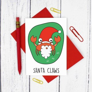 Pun Christmas Card, Funny Christmas Card, Santa Claus Card, Santa Claws Card, Animal Lover Card, Funny Holidays Card, Christmas Card Pack, Christmas Card Set, Tipi Creations, Christmas Carol Card, Confetti Card, Crab Pun Card, Santa Pun Card