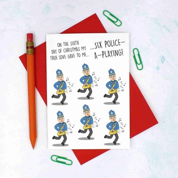 12 Days of Christmas, Police Pun Card, Card for Officer, Funny Christmas Card, TeePee Creations, Confetti Card, Music Lover Card, Saxophone Pun Card, 6 Geese a Laying, Christmas Card Set, Christmas Card Pack, 6th Day of Xmas, Funny Holidays Card