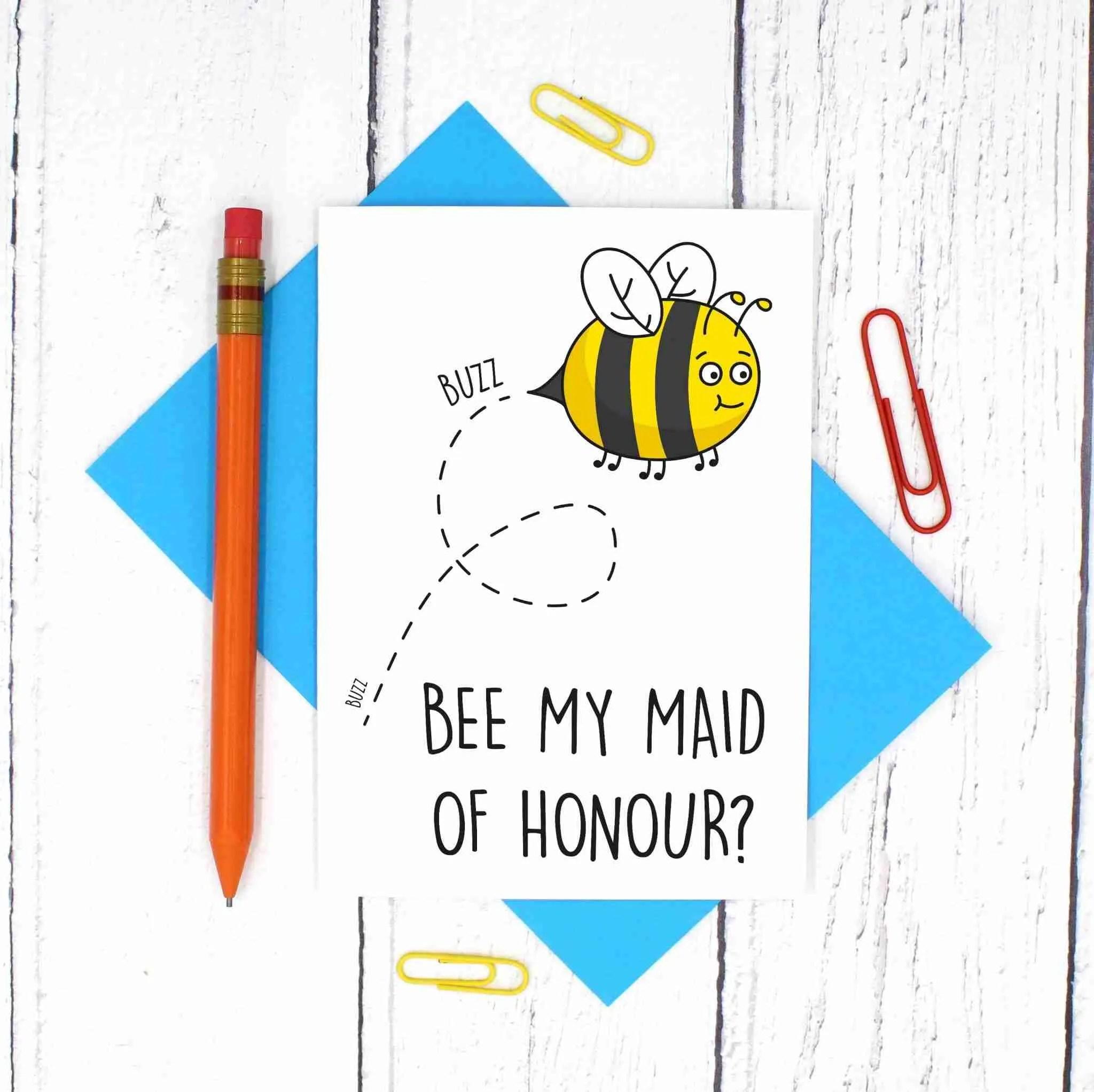 Cute Maid Of Honour Proposal Bee Card