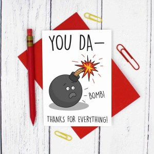 Funny Thank You Card, Card for Teacher, Thanks Teacher Card, You Da-Bomb Card, TePe Creations, Bomb Pun Card, End of School Card, End of Term Card, Number One Teacher, Card to Say Thanks, Graduation Card, Card for Tutor, Card for Lecturer