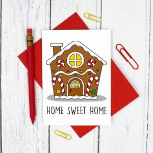 Funny Pun Card, TeePee Creations, Confetti Card, New Home Card, Funny New House Card, Housewarming Card, Gingerbread House, Home Sweet Home, Moving In Card, Congratulations Card, Sweet Tooth Card, Card for Baker, Gingerbread Pun