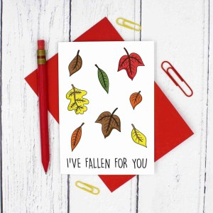 Funny Pun Card, Tee Pee Creations, Confetti Card, Anniversary Card, Valentines Day Card, Leaf Pun Card, Nature Lover Card, Fallen For You, Autumn Leaves Card, Card for Husband, Cute Card for Wife, Card for Girlfriend, Card for Boyfriend