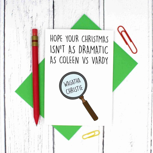 TeePee Creations, Confetti Card, Coleen Rooney, Rebekah Vardy, Funny Pun Card, Wagatha Christie Pun, Detective Pun Card, Funny Christmas Card, Dramatic Card, Drama Holidays Card, Topical Card, WAG Football Card, Joke Christmas Card