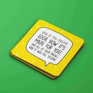 Coldplay Coaster, All Yellow Lyrics, All Yellow Pun, Graduation Gift, Funny Birthday Gift, Anniversary Gift, Fun Wedding Gift, Chris Martin Coaster, Music Lover Present, TePe Creations, Star Pattern Coaster, Present for Friend, Brew Pun Coaster