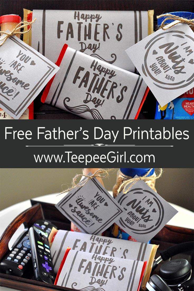 Free Father's Day Printables & Tags; the perfect way to add love and cuteness for Father's Day! www.TeepeeGirl.com