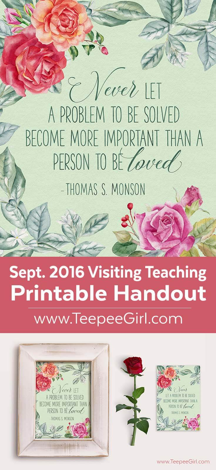 This free printable comes in two sizes (8x10 & 4x6) and is perfect for September visiting teaching or as an inspiration thought. Paired with a frame, it makes a great gift!! www.TeepeeGirl.com