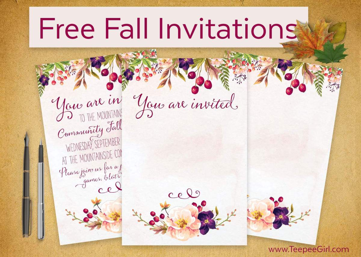 This free invitation is perfect for all your fall parties and socials! Just grab this printable and fill it in with your information and you are good to go! www.TeepeeGirl.com