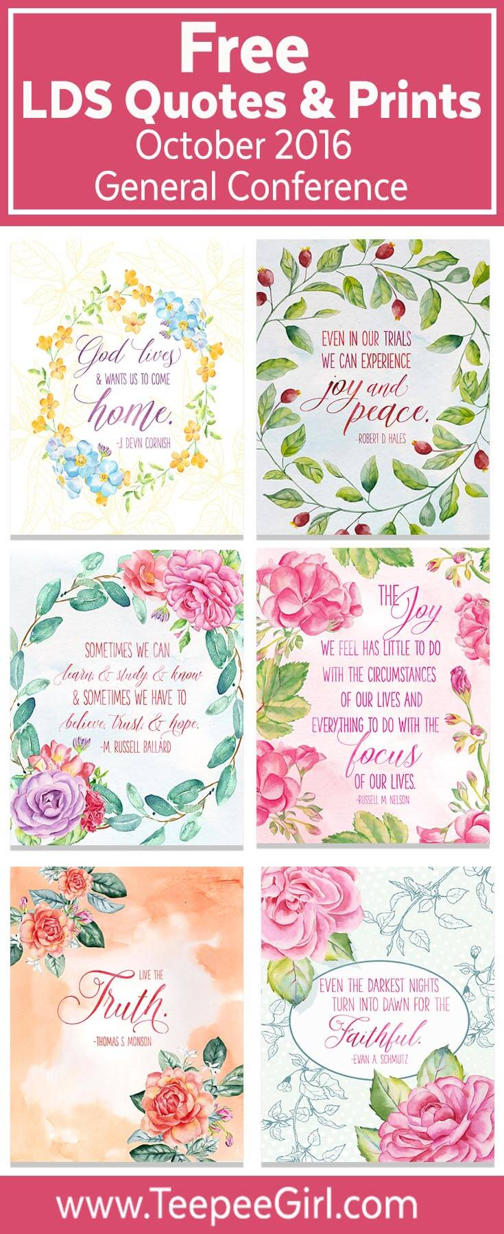These 2016 October LDS General Conference printable quotes come in two sizes and are perfect for visiting teaching, lesson handouts, and framing in your home. Download them for free today at www.TeepeeGirl.com!