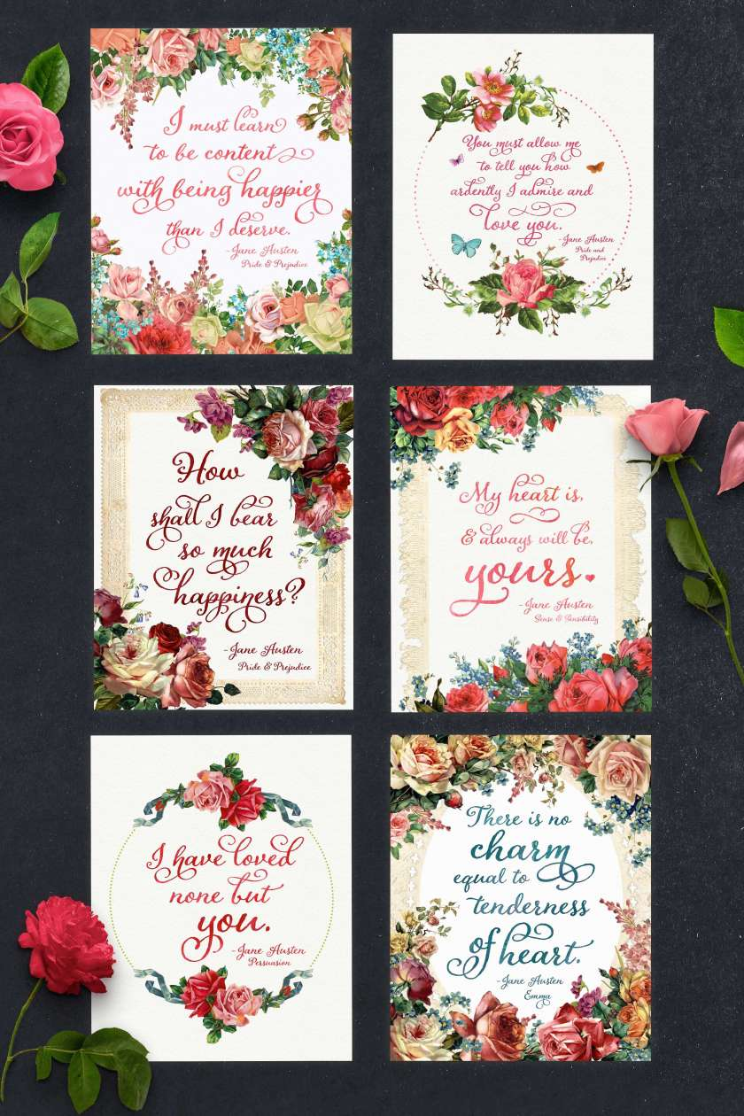 These 6 FREE printables all feature beloved (and romantic!) quotes from Jane Austen! They are perfect for Valentines' Day, bridal showers, and any other celebration of love and romance! Click here to get these free printable quotes! www.TeepeeGirl.comThese 6 FREE printables all feature beloved (and romantic!) quotes from Jane Austen! They are perfect for Valentines' Day, bridal showers, and any other celebration of love and romance! Click here to get these free printable quotes! www.TeepeeGirl.com