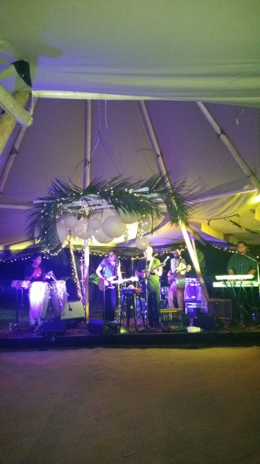 full band in a teepee