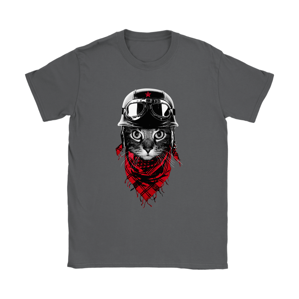Cat With Red Scarf And Biker Helmet Biker Cat Style Shirts 10