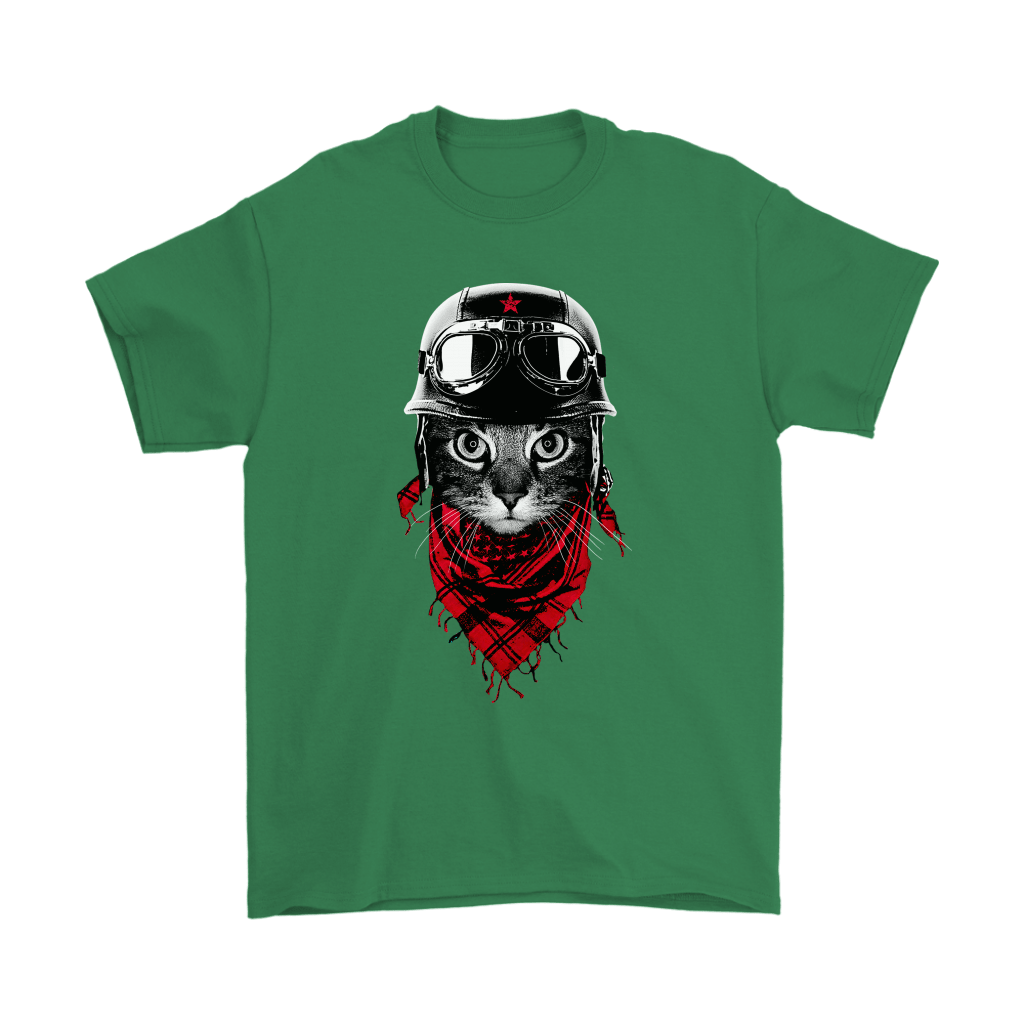 Cat With Red Scarf And Biker Helmet Biker Cat Style Shirts 8