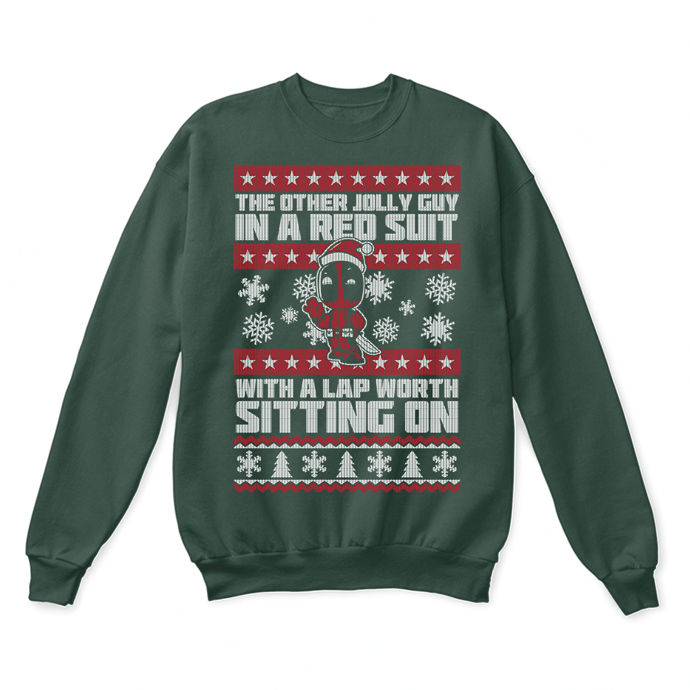 Christmas Sweater Suit.Deadpool The Other Jolly Guy In A Red Suit Ugly Christmas Sweater
