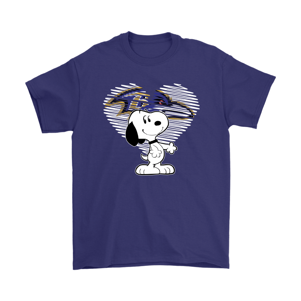 I Love Baltimore Ravens Snoopy In My Heart NFL Shirts 4