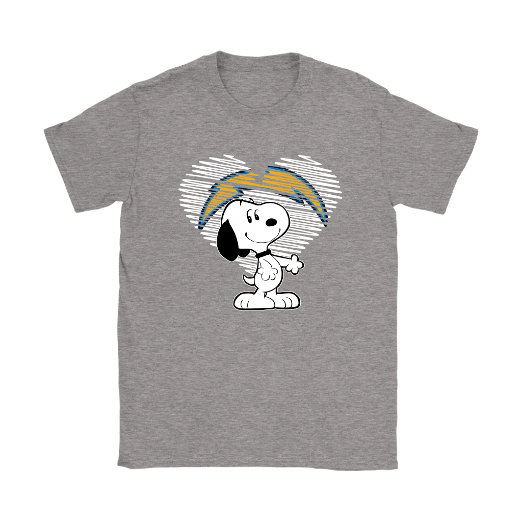 I Love Los Angeles Chargers Snoopy In My Heart NFL Shirts 12