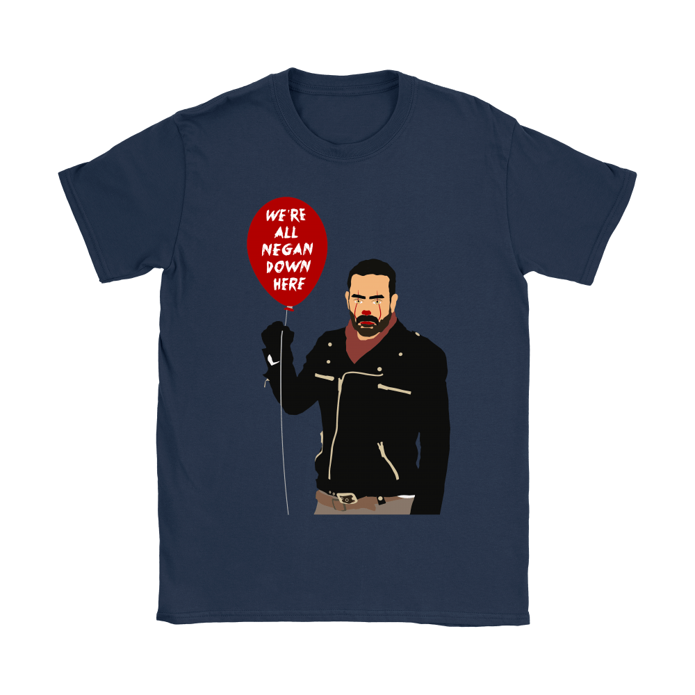 IT Pennywise And Walking Dead Parody Negan Down Here Stephen Shirts 11