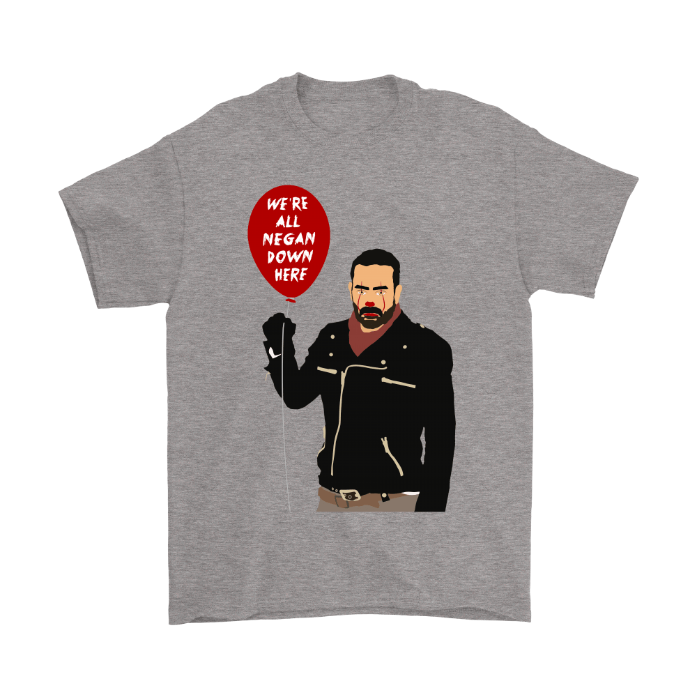 IT Pennywise And Walking Dead Parody Negan Down Here Stephen Shirts 7