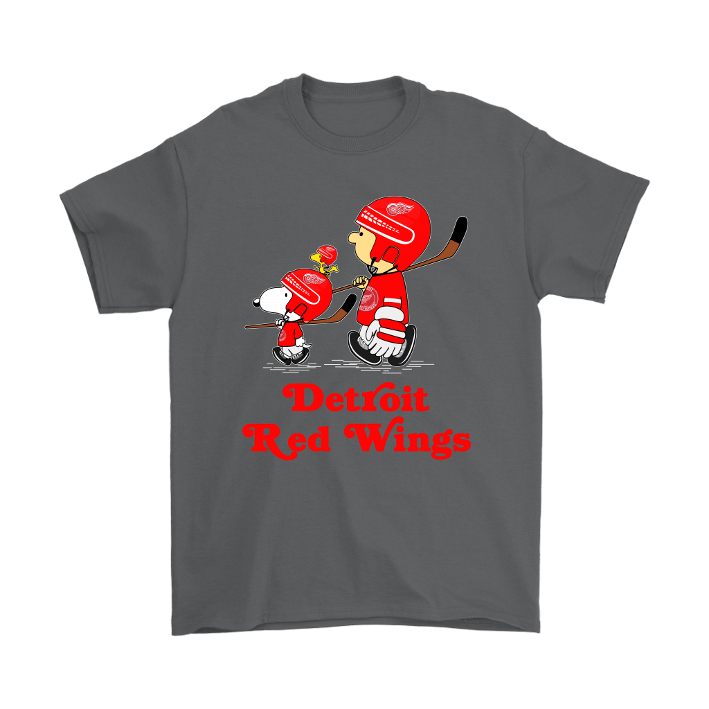 Let's Play Detroit Red Wings Ice Hockey Snoopy NHL Shirts 2