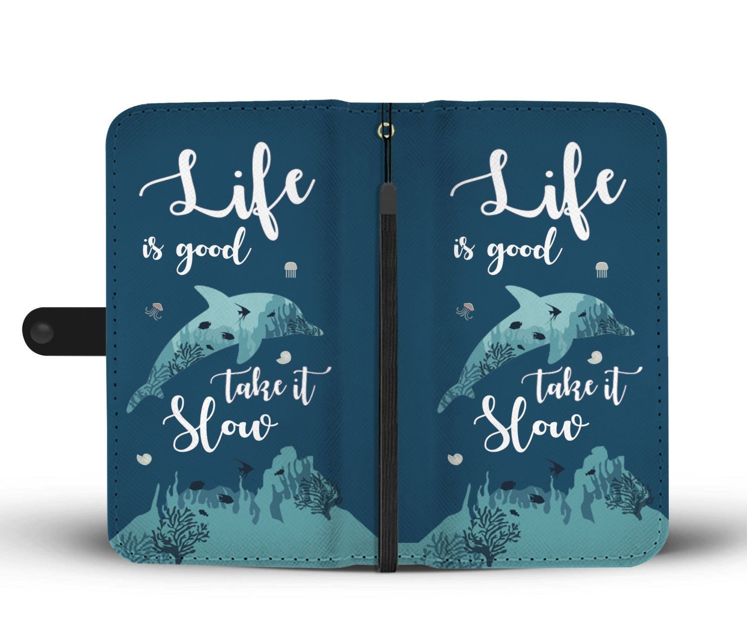 Life Is Good Take It Slow Dolphin Wallet Phone Case