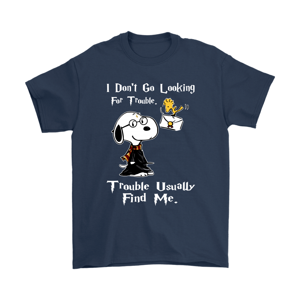 I Don't Go Looking For Trouble Harry Potter x Snoopy Shirts 3